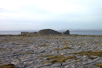 Ringfort - Caher on Black Head, County Clare, with karst terrain in foreground