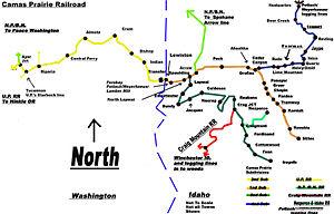 Camas Prairie Railroad - Image: Camas Prairie RR map