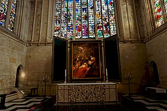 Adoration of the Magi (Rubens, Cambridge) - The painting installed as an altarpiece at King's College Chapel, Cambridge