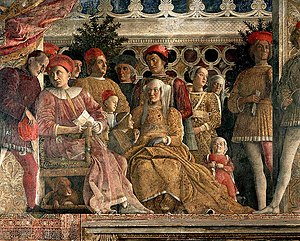 House of Gonzaga - Ludovico III Gonzaga, Marquis of Mantua and Barbara of Brandenburg with their children, fresco by Andrea Mantegna at San Giorgio Castle, Mantua, around 1470