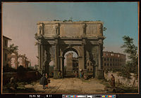 Canaletto (Giovanni Antonio Canal) (Italian - View of the Arch of Constantine with the Colosseum - Google Art Project.jpg