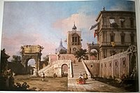 Canaletto - Capriccio of a Renaissance Palazzo with a monumental Staircase, a Clock Tower and the Arch of Titus beyond.jpg