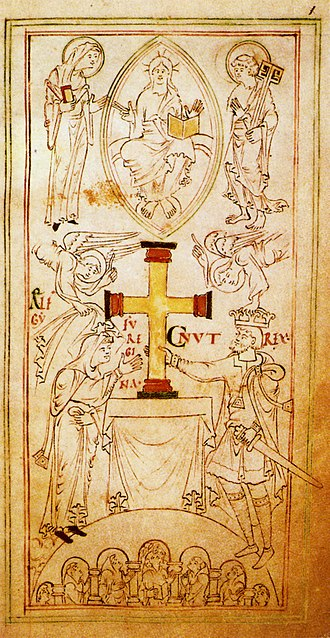 Ælfgifu of Northampton - Angels crowning Canute the Great as he and his wife Ælfgifu of Northampton present the Winchester Cross to the church, The New Minster Liber Vitae, Winchester (New Minster), 1031, British Library MS. Stowe 944