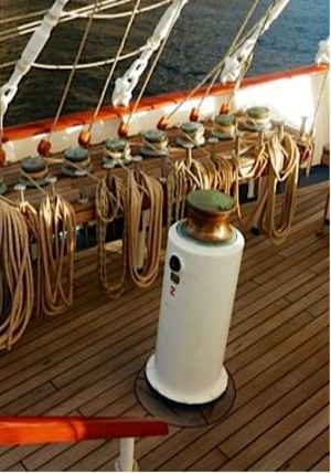Capstan equation -  An example of holding capstans and a powered capstan used to raise sails on a tall ship.