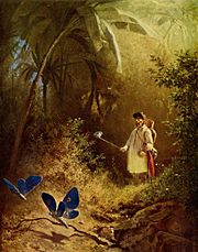 Der Schmetterlingsjäger (The butterfly hunter) by Carl Spitzweg (1840), a depiction from the era of butterfly collection.