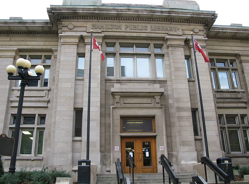 The grand Hamilton Public Library in Hamilton, Ontario; Obtained from Wikimedia Commons under the terms of the GNU Free Documentation License.