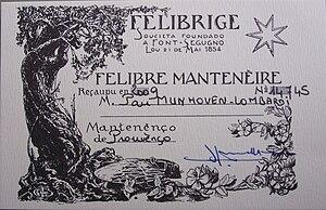 """Félibrige - Carte de """"Félibre mantenèire / Mantenènço de Prouvènço"""" 2009."""