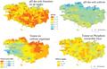 Cartographie de propriétés chimiques (pH, P) et de la teneur en carbone organique des horizons de surface des sols.png