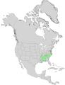 Carya pallida USGS range map.png