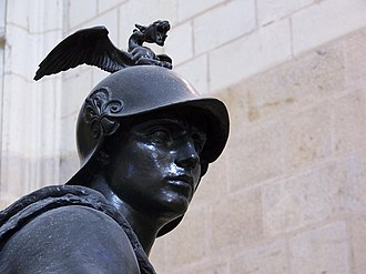 "Paul Dubois (sculptor) - The allegorical statue representing ""Military courage"". One of the four statues at each corner of the cenotaph to General de La Moricière in Nantes cathedral. A good example of Dubois' ""neo-florentine"" style"