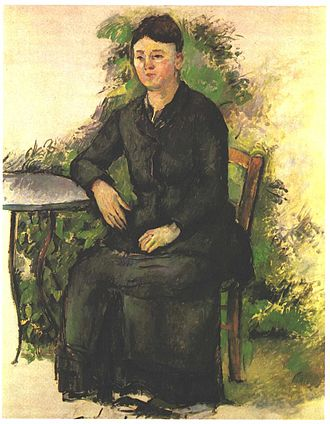 Portrait of Madame Cézanne with Loosened Hair - Madame Cézanne in a Garden, unknown date. Here she is presented as more extroverted, and her real life restless nature is evident.