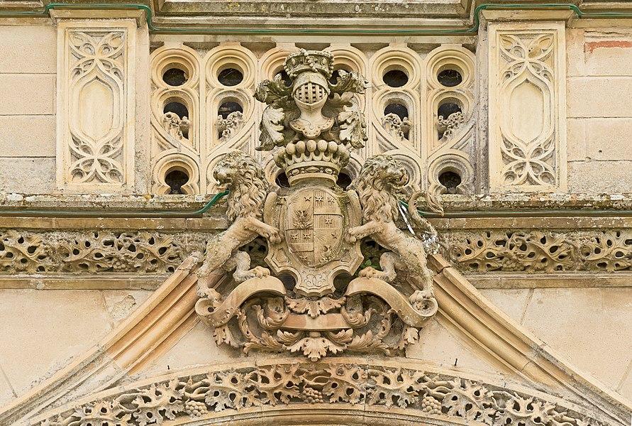 English:  Château de Launaguet. Architect: Augustus Virebent. Armorial bearings of Jasques-Henry Dufay, Baron of Launaguet, above the castle entrance.