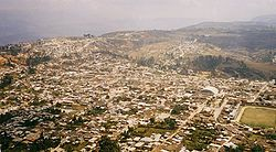 Aereal view of the city of Chachapoyas