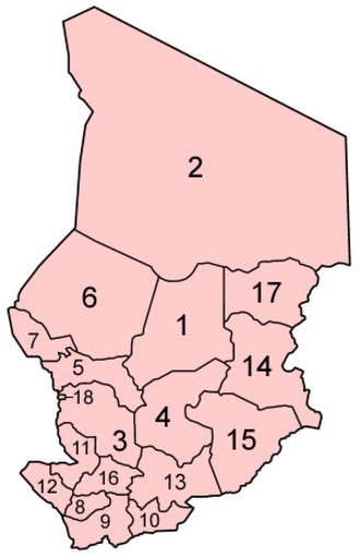 Administrative divisions of Chad - Image: Chad regions numbered