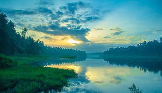 Chalakudy - Chalakudy River bank on a summer sunrise