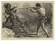 ChamberlaineandPaugusAtLovewellsFightEngraving from John Gilmary Shea A Child's History of the United StatesHess and McDavitt 1872