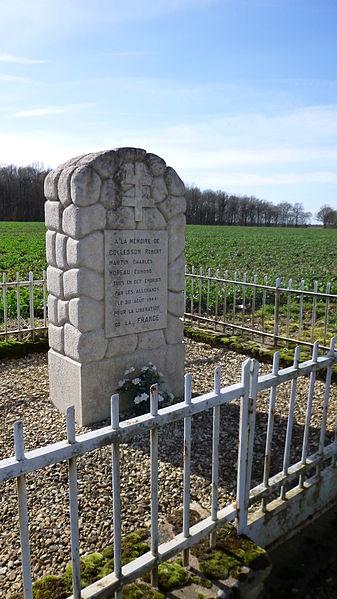 Champignelles, Yonne, Burgundy, France.  War monument in memory of three men shot by the germans in 1944: Robert Colesson, Charles Martin et Edmond Moreau.
