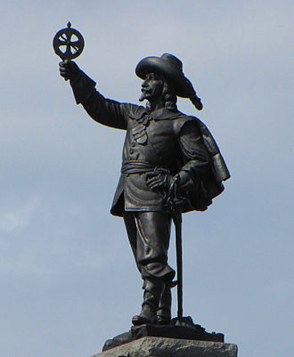 National Gallery of Canada - Samuel de Champlain by sculptor Hamilton MacCarthy stands beside the Gallery at Nepean Point, Ottawa