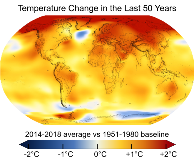 Average global temperatures from 2014 to 2018 compared to a baseline average from 1951 to 1980, according to NASA's Goddard Institute for Space Studies. Change in Average Temperature.png