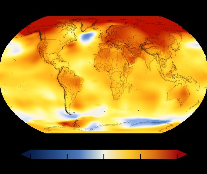 Cambio térmico en los últimos 50 años. Temperatura global media en 2014-2018 comparada con el promedio basal entre 1951 y 1980, de acuerdo al Goddard Institute for Space Studies de la NASA.