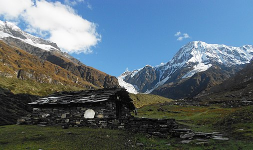 Changuch with hut, Uttarakhand, India.