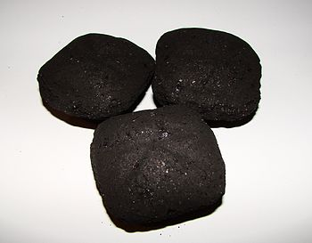 Some charcoal briquettes