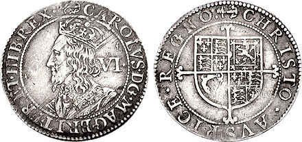 "Sixpence of Charles I, inscribed: CAROLUS D(EI) G(RATIA) MAG(NAE) BRIT(ANNIAE) FR(ANCIAE) ET HIB(ERNIAE) REX (""Charles, by the grace of God, King of Great Britain, of France and of Ireland"") Charles I AR Sixpence 722625.jpg"