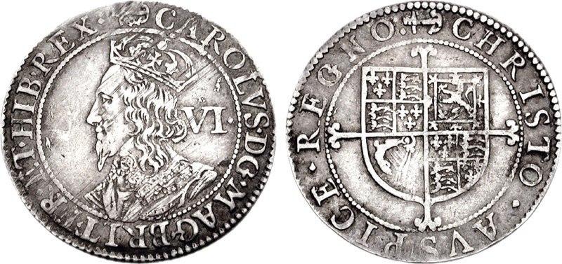Charles I AR Sixpence 722625