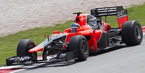 Charles Pic i en Marussia MR01 under Malaysias Grand Prix 2012.