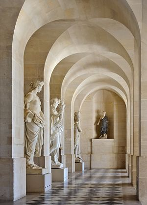 Grande Commande - The original statues Water, Night, America, preserved in the galerie basse of the Palace of Versailles.