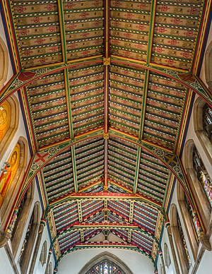 The chancel ceiling of Chelmsford Cathedral in Essex, England.
