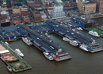 Chelsea Piers - Chelsea Piers as seen from the air. Pier 62 is on the left, with the driving range of Pier 59 partially visible on the right