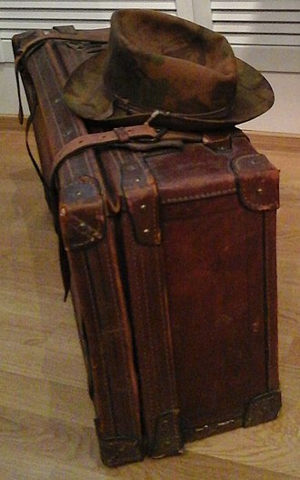 Joseph Brodsky - The suitcase with which Brodsky left his homeland, on June 4, 1972, carrying a typewriter, two bottles of vodka and a collection of poems by John Donne. Today displayed in the Anna Akhmatova Museum, Saint Petersburg.