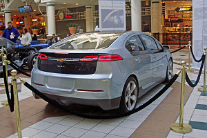 Rear view of the Chevrolet Volt at a public ex...