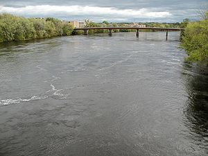 Chippewa River (Wisconsin) - The Chippewa River from the west bank of the river looking south toward the Lake Street bridge in downtown Eau Claire (taken in 2007)