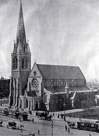 ChristChurch Cathedral, Christchurch - ChristChurch Cathedral, before the 1901 earthquake damaged its spire