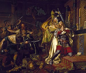 Canute IV of Denmark - Murder of Canute the Holy by Christian Albrecht von Benzon, 1843