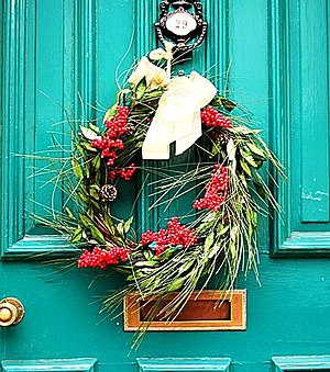 Wreath - A Christmas wreath on a house door in England.