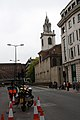 Church of St James Garlickhithe from Upper Thames Street on Day of Tour Of Britain Cycle Race final day.jpg