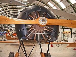 """Le Rhône - Le Rhône 9J mounted in the front of a Cierva C.6 autogyro replica, displayed in """"Museo del Aire"""", Cuatro Vientos, Madrid, Spain"""