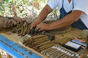San Andrés Tuxtla - Vendor rolling cigars in San Andrés Tuxtla