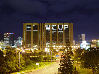2003 Cricket World Cup - A civic centre lit up to mark the World Cup