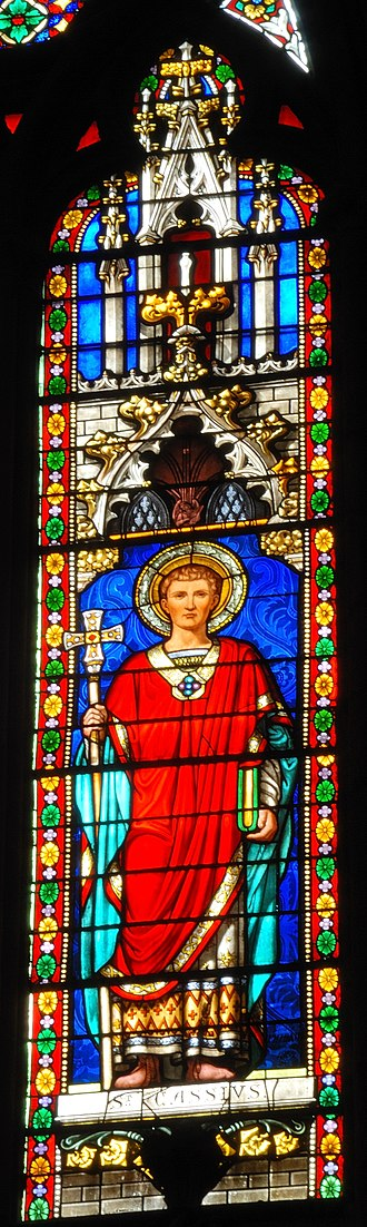 Cassius of Clermont - Stained glass depiction of Cassius, Église Saint-Eutrope, Clermont-Ferrand