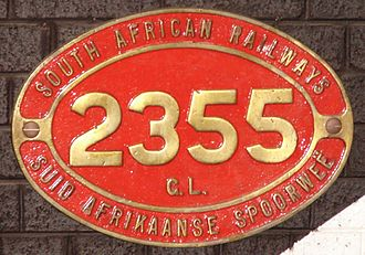 South African locomotive numbering and classification - Number plate off Class GL 2355