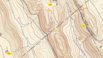 Saddle (landform) - USGS topographic map of ridges and saddles near Hazelton, Pennsylvania (closer view). The points -A-, -B-, -C-, -D- and, -E- all represent saddles — relative minimums oriented to two or more nearby peaks, but a local maxima relative to lower land.