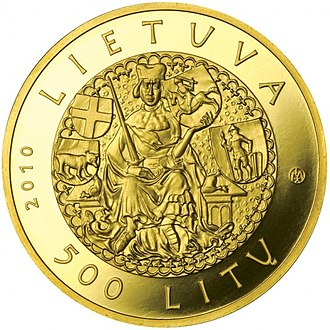 Commemorative coins of Lithuania - Image: Coin commemorating the 600th anniversary of the Žalgiris Battle Aversum