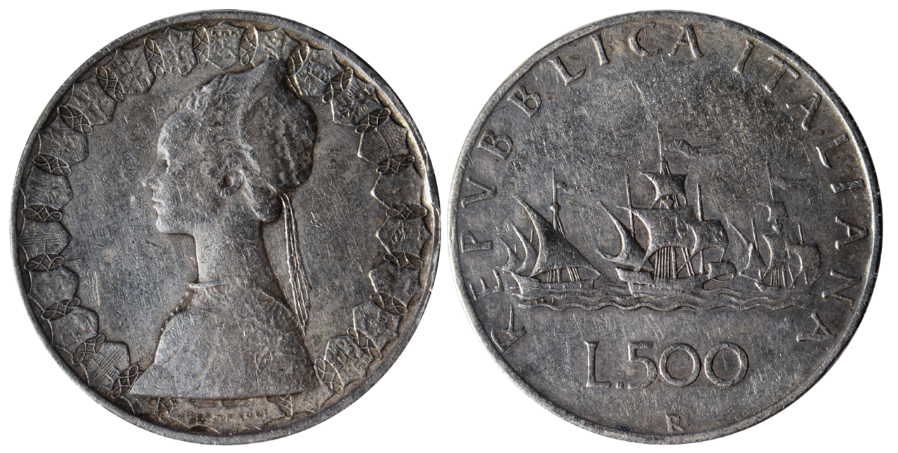 27739669c8 Coins of the Italian Republic (500 Lire) silver (Caravels).png
