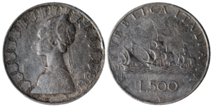 Coins of the Italian Republic (500 Lire) silver (Caravels).png