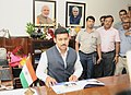 Col. Rajyavardhan Singh Rathore taking charge as the Minister of State for Youth Affairs and Sports (Independent Charge), in New Delhi on September 04, 2017.jpg