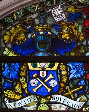 Sir Alfred James Newton, 1st Baronet - Image: Coleraine Town Hall Memorial Window Irish Society Detail Coat of Arms of Governor Sir Alfred James Newton 2014 09 13
